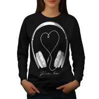 Wellcoda Love For Music Womens Sweatshirt, Headset Casual Pullover Jumper