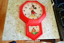 Vtg Welby by Elgin Walt Disney Productions Mickey Mouse School House Clock Red