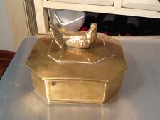 Vintage Solid Brass Bird On Lid Trinket Box Jewelry Box Made In Italy