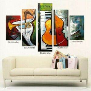 YA1483 Large 5Pcs/set Abstract oil painting Music Hand-painted Canvas Unframed