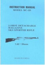 SKS MODEL MC-5D 7.62x39 mm SPORTER RIFLE OWNERS GUN MANUAL