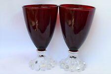 "Set of 2 Vintage Boopie Royal Ruby Red ANCHOR HOCKING 4 1/2"" Juice Glasses"