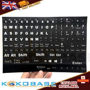 English UK Large White Letter on Non-Transparent BLACK Keyboard Stickers