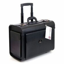 "Large Rolling Briefcase Black 17"" Laptop Business Travel Case Bag Pilot carrying"