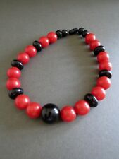 Vintage Retro Chunky Red Black Lucite Necklace