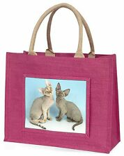 Two Devon Rex Cats Large Pink Shopping Bag Christmas Present Idea, AC-20BLP