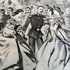 1863 CIVIL WAR newspaper w 2 WINSLOW HOMER PRINTS @ Academy of Music NYC POSTER