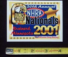 2001 NHRA Colonel's Nationals Event Decal Sticker Brainerd Winston Drag Racing