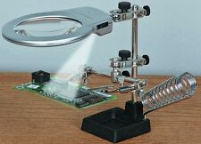 Brand New Jumbo Helping Hands Magnification Glass With LED Lights