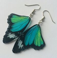monarch butterfly WING earrings moth bug insect charm teal blue green DANGLE