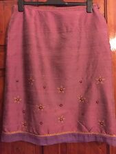 Ladies 100% Silk Lined Dusky Pink Size 16 Vintage Skirt.