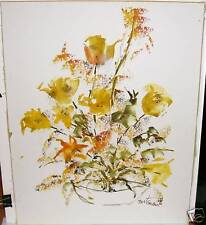 BERTRAND ORIGINAL WATERCOLOR FLORAL PAINTING