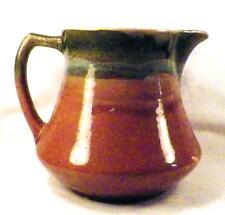Roseville Pitcher Jug Art Pottery Cinnamon Brown & Blue Drip Blended Glaze