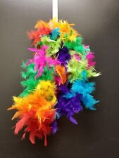 Multi Color Genuine Feather Neon Rainbow Boa Dress Up Party Deoration 6' long