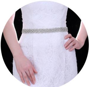 UK BRIDAL WEDDING SASH BELTS with Silk Ribbon Ivory Silver Dress Waistband Party