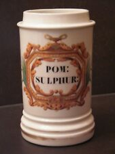 Ancien pot à pharmacie en porcelaine A COLLIN blanc coloré doré POM: SULPHUR:
