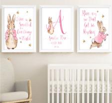 Peter Rabbit Beatrix Potter Baby Girl Nursery Decor Print Set, Bunny Art Prints