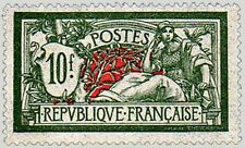 "FRANCE STAMP TIMBRE YVERT N° 207 "" MERSON 10 F VERT ET ROUGE "" NEUF x TB"