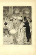"""ABEL TRUCHET EAU-FORTE ORIGINALE ETCHING """" LE CAFE DE PARIS """" 1904"""