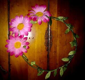 "PINK Flowered HEAD CORONET ~ Renaissance or Flower-child Costume ~ 7"" Radius"