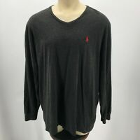 Polo by Ralph Lauren Long Sleeve Pullover Sweatshirt Vneck Cotton Grey Mens 2XL