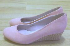 Clarks Ladies Pink Suede Wedge Heel Rattan Court Shoes UK 6 EU 39