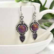 Charming Vintage Silver Amethyst Dangle Drop Earrings Women Wedding Jewelry Gift