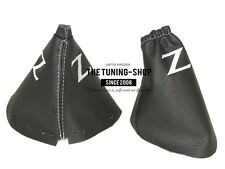 """FOR NISSAN 350Z 33Z 03-09 SHIFT E BRAKE BOOT LEATHER DOUBLE WHITE """"Z"""" EMBROIDERY"""