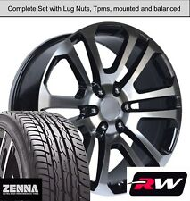 22 inch Wheels and Tires for GMC Sierra 1500 Replica CK158 Black Machined Rims