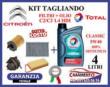 KIT TAGLIANDO OLIO TOTAL CLASSIC 5W40 + FILTRI CITROEN C2 C3 1.4 HDI 50 KW