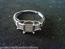 GENUINE DIAMOND PRINCESS WEDDING ENGAGEMENT RING SZ 7.5 + GIFT