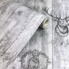 Holden Decor Stag Wood Panel Wallpaper Grey 90090