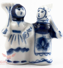 Gzhel Russian Handpainted Porcelain Folk Figurine peasant women with rakes