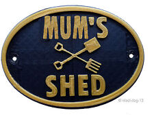 Mum's Shed  - House Garden Sign Plaque - Black / Gold