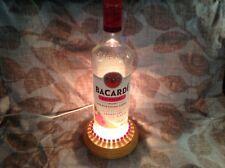 Handmade BACARDI RASPBERRY RUM Bottle Lamp-BACARDI-RUM LAMP/