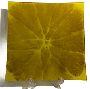 "Prima Donna Glass Serving Platter Plate 12"" Square Reverse Painted Orange Slice"