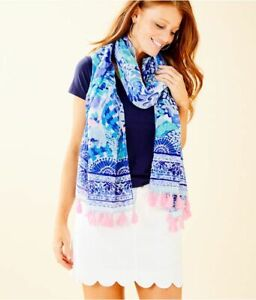 Lilly Pulitzer Turquoise Oasis Wave After Wave Tassle scarf Wrap