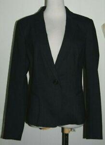 Ann Taylor Rayon Blend Dark Gray Collared V Neck 1 Button Blazer Jacket 6