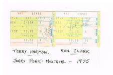 MONTREAL EXPOS 1975 Jerry Park autographed ticket stubs TERRY HARMON & RON CLARK