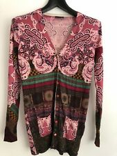 ETRO Women's Pink Contrast Sleeve Cardigan, Size 42;100% authentic,Made in Italy