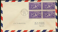 #855 1939 Baseball First Day With BLOCK of FOUR on Airmail Border Envelope