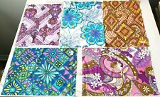 Lot 5 Authentic Vintage 60s 70s sample fabric Quilt Patch Craft 12 X 9 inches