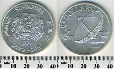 Singapore 1979 - 10 Dollars Silver Coin - Satellite Communications Antennas