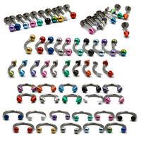 10pcs Ear Cartilage Tragus Helix Labret Lip Stud Eyebrow Ring Body Jewelry 16g