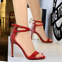 Women's Gladiator Sandals Rhinestone Strappy Open Toe Stiletto High Heel Shoes