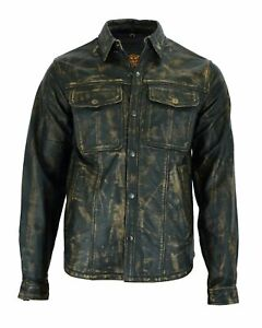 Men's Motorcycle Collared Brown Genuine Naked Leather Shirt w/ Multiple Pockets
