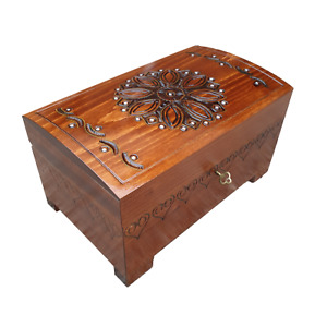 WOODEN LARGE JEWELLERY CHEST IN BROWN COLOR LOCK AND KEY