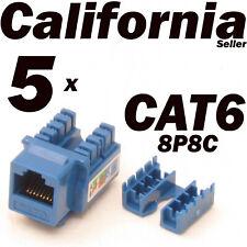 5 Pcs Lot CAT6 Blue Keystone 8P8C RJ45 Network 110 Style Socket Punch Down Jack