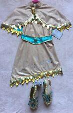 POCAHONTAS Disney Girls' Costume, Size 5/6, Dress, Cape, Shoes Size 1