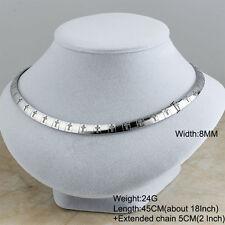Charm Stainless Steel Silver Women Cross Collar Choker Fashion bib Necklaces 8MM